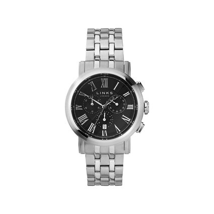 Richmond Mens Stainless Steel Black Dial Chronograph Bracelet Watch, , hires