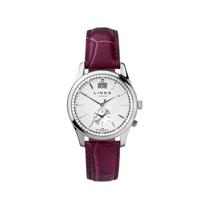 Regent Womens Stainless Steel & Purple Leather Watch, , hires