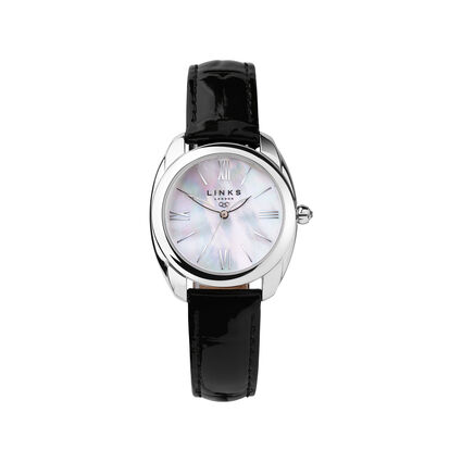 Bloomsbury Womens Stainless Steel & Black Leather Watch, , hires