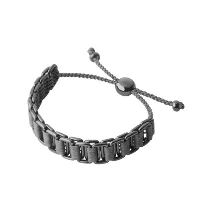 Mens Grey Layered Friendship Bracelet Ruthenium, , hires