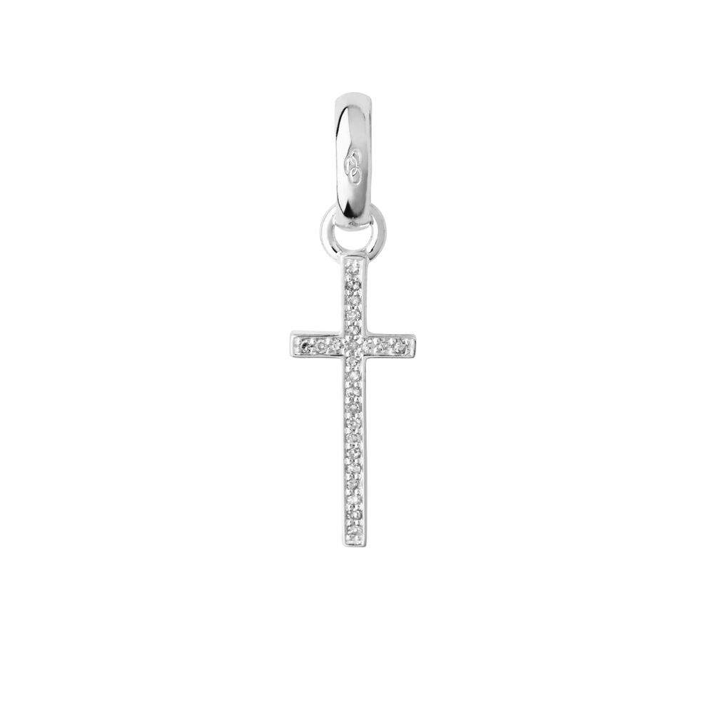 Sterling Silver & Diamond Pave Cross Charm, , hires