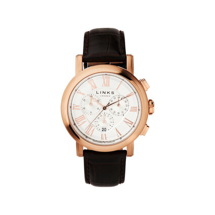 Richmond Rose Gold Plate & Toffee Leather Chronograph Watch, , hires