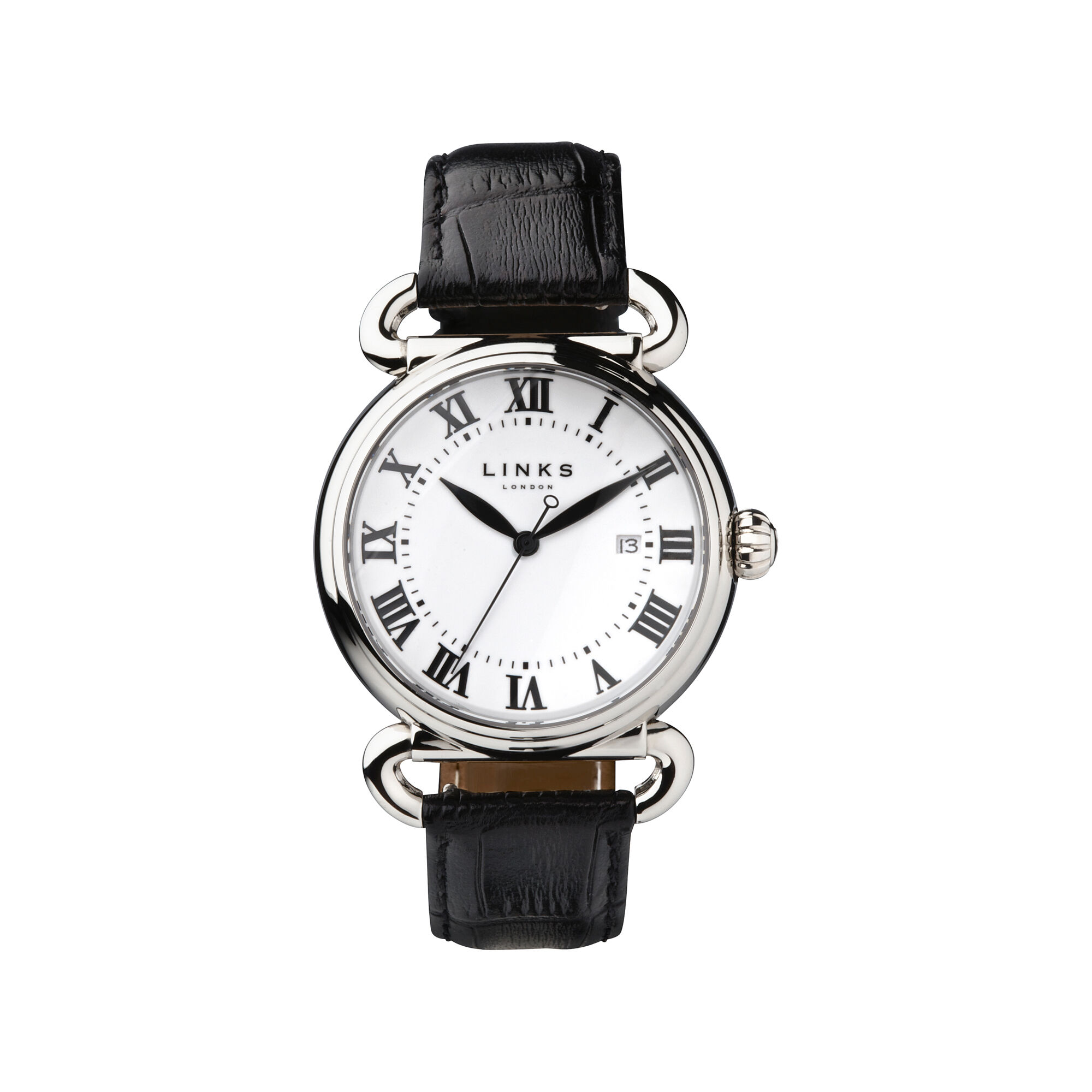 for product oblique strap gold watches ros men johan leather black