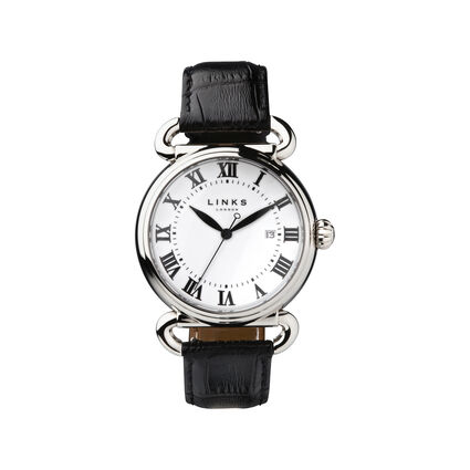 Driver Stainless Steel Black Leather Watch, , hires
