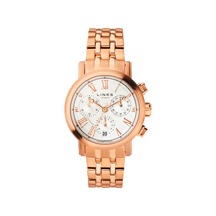 Richmond Womens Rose Gold Plate Bracelet Chronograph Watch, , hires