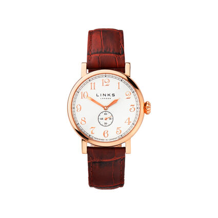 Greenwich Womens Rose Gold Plate & Red Leather Watch, , hires