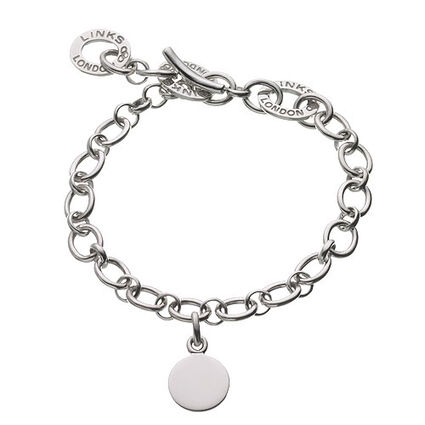 Sterling Silver Baby Disc Charm Bracelet, , hires