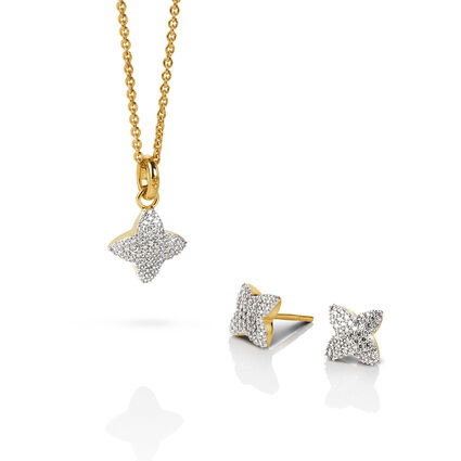 Splendour 18kt Yellow Gold Vermeil & Diamond Four-Point Star Necklace & Earring Set, , hires