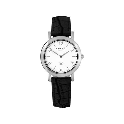 Noble Slim Womens White Dial Black Leather Watch, , hires