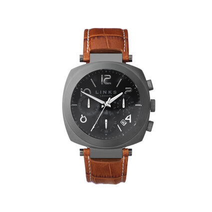 Brompton Mens Gunmetal Grey & Brown Leather Chronograph Watch, , hires