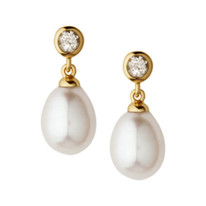 White Topaz Pearl Drop Earrings, , hires