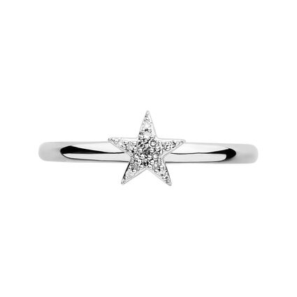 Diamond Essentials Sterling Silver & White Pave Star Ring, , hires