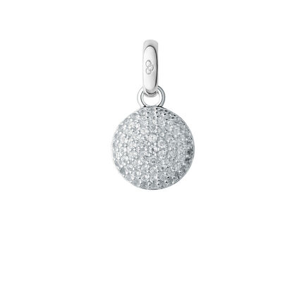 Sterling Silver & Topaz Pave Disc Charm, , hires