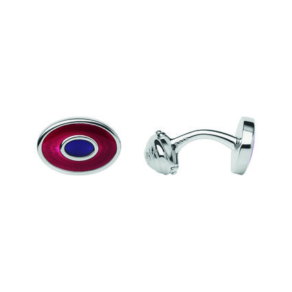 Sterling Silver & Red Enamel Guilloche Cufflinks, , hires