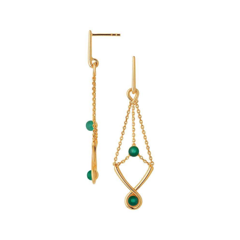 Serpentine 18kt Yellow Gold Vermeil & Green Chalcedony Gemstone Drop Earrings, , hires