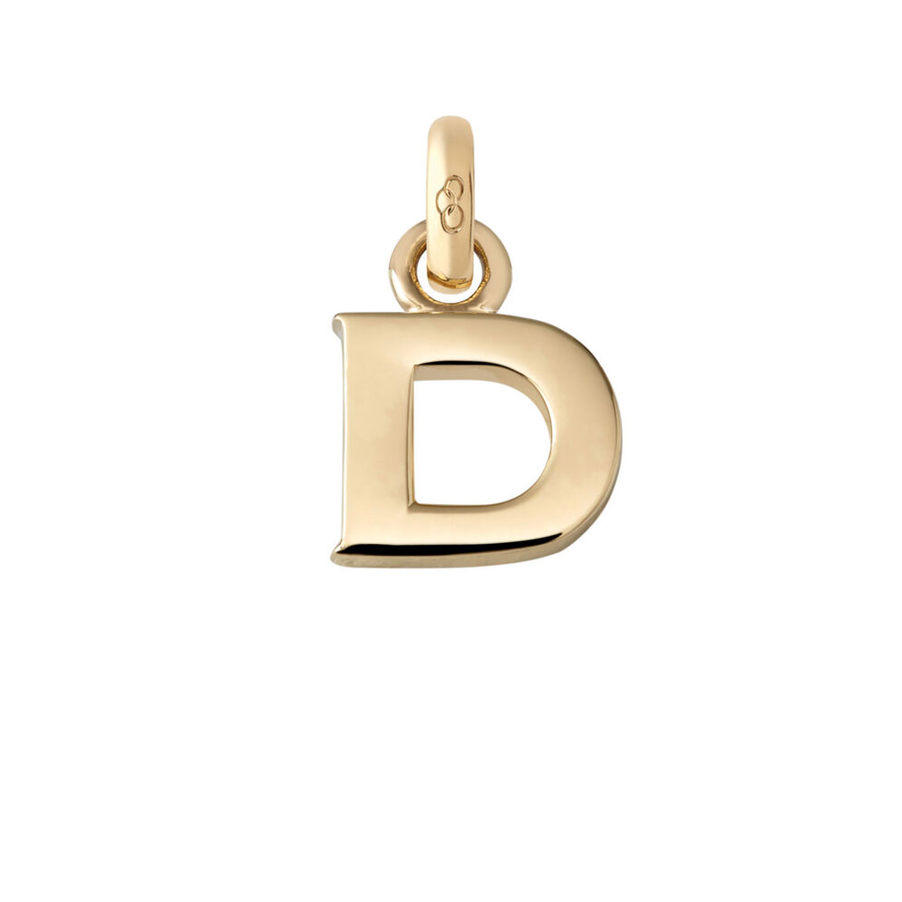 18kt Yellow Gold D Charm, , hires