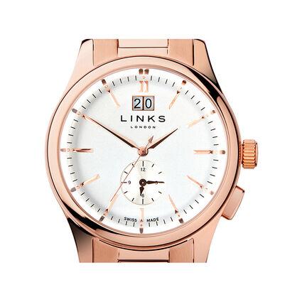 Regent Mens Rose Gold Plated Bracelet Watch, , hires