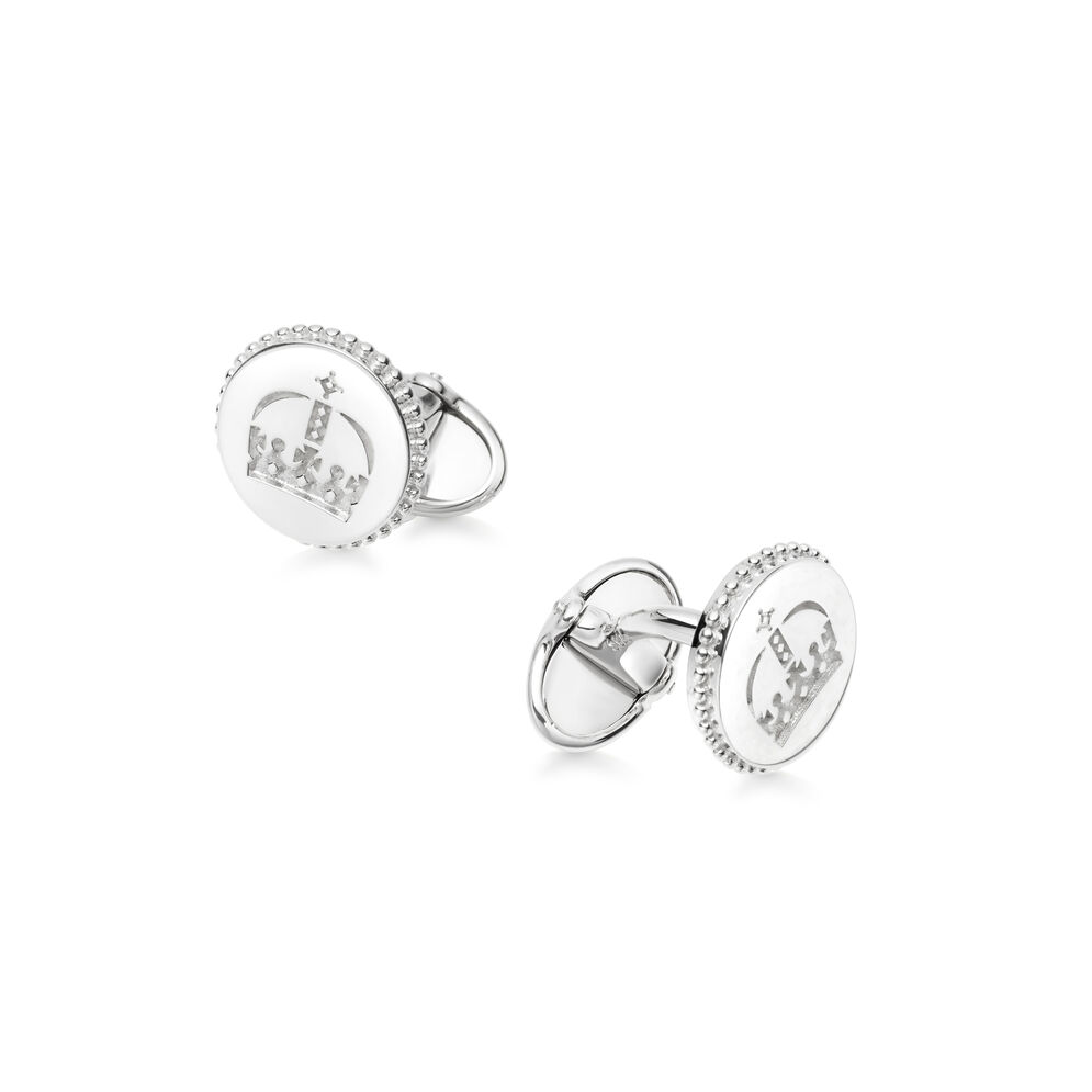 Ascot Sterling Silver Royal Crown Round Cufflinks, , hires