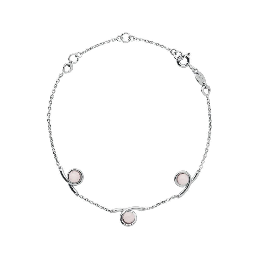 Serpentine Sterling Silver & Pink Opal Gemstone Bracelet, , hires