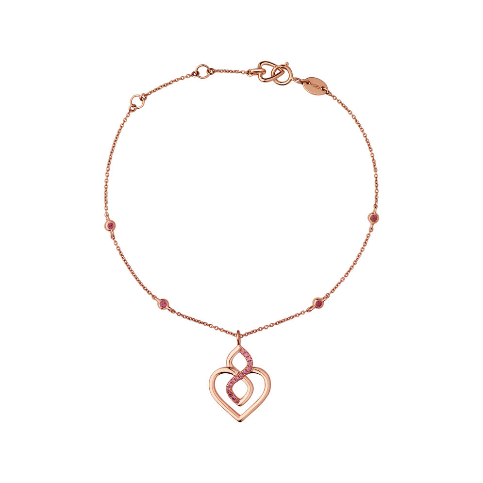 18K Rose Gold & Rhodolite Garnet Infinite Love Bracelet, , hires