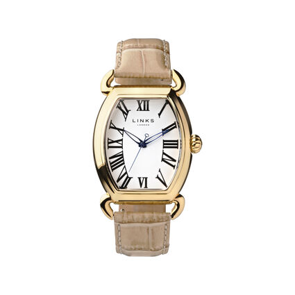 Driver Ellipse Yellow Gold Plate Tan Leather Watch, , hires