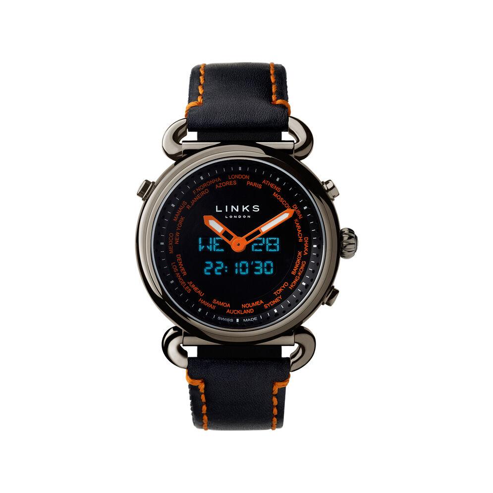 Driver Sport Black Leather & Orange Digital Analogue Watch, , hires