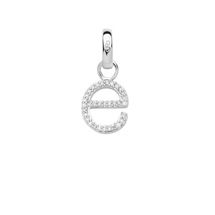 Sterling Silver & Diamond Letter E Charm, , hires