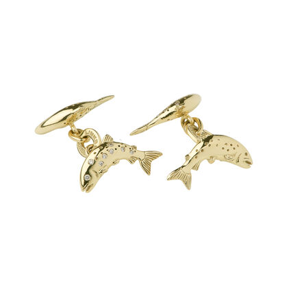 18kt Yellow Gold & Diamond Salmon Cufflinks, , hires