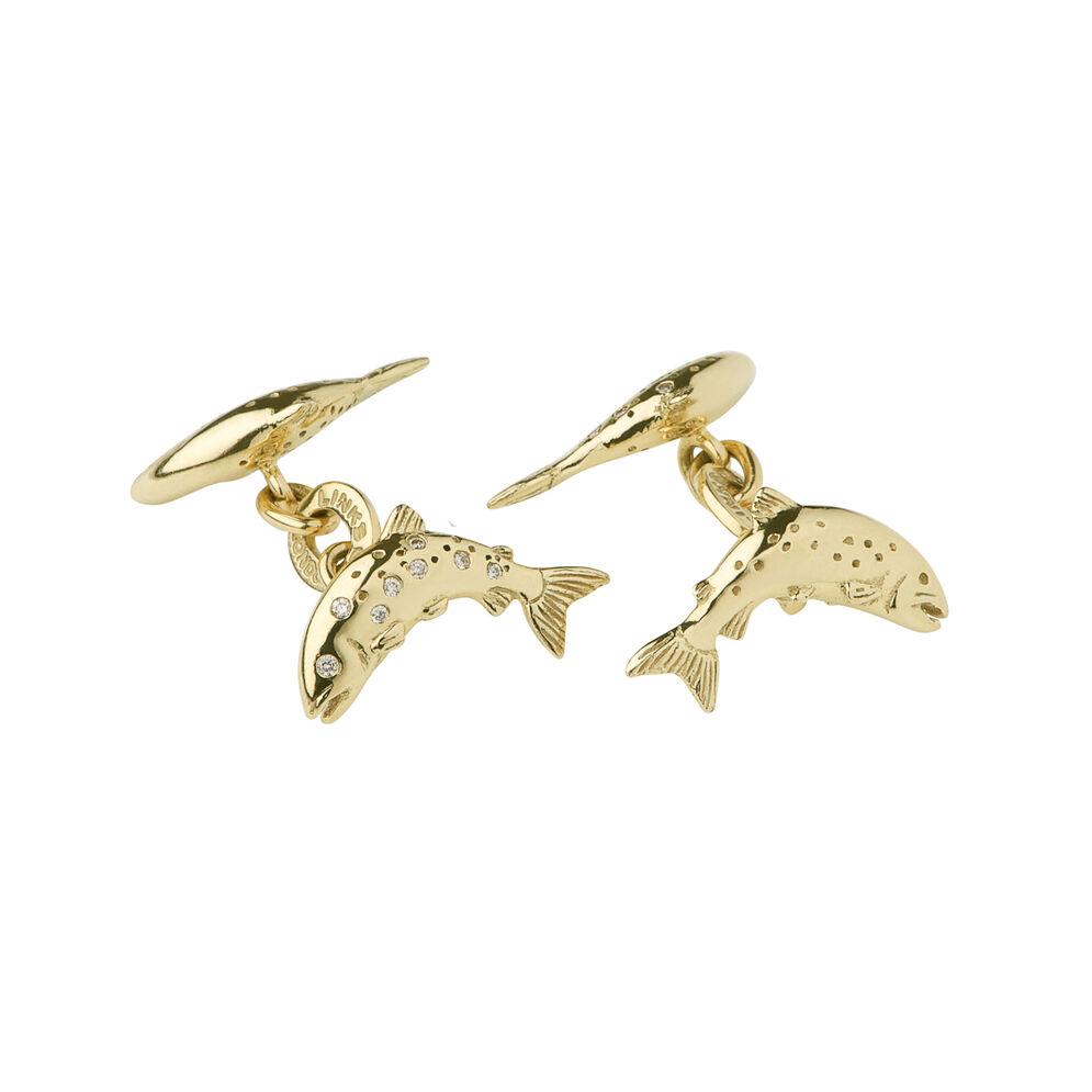 18kt Yellow Gold & Diamond Salmon Cufflinks, , hires