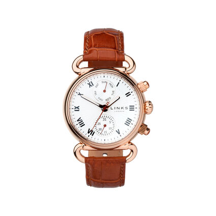 Driver DD Rose Gold & Tan Leather Watch, , hires