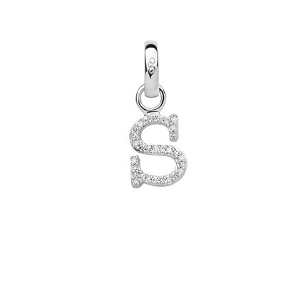 Sterling Silver & Diamond S Alphabet Charm, , hires
