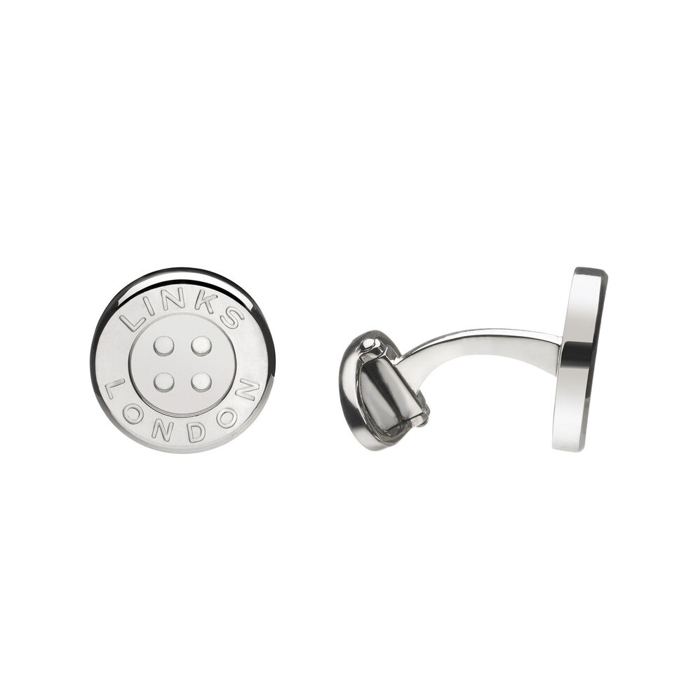 Sterling Silver Button Cufflinks, , hires