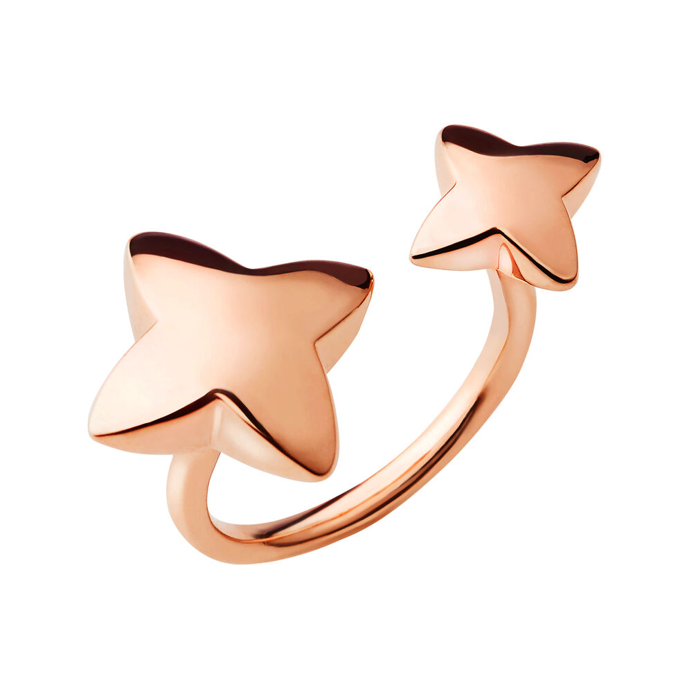 Splendour 18kt Rose Gold Vermeil Four-Point Star Double Ring, , hires