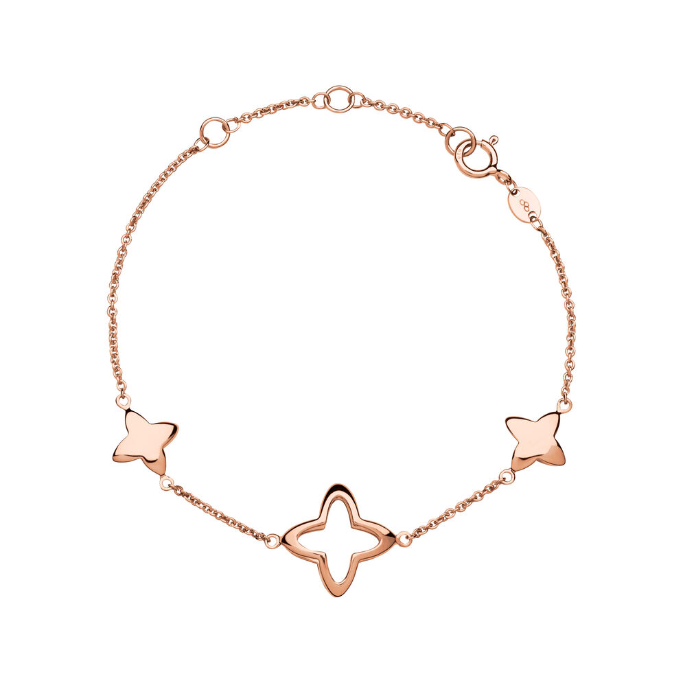 Splendour 18kt Rose Gold Vermeil Four-Point Star Station Bracelet, , hires