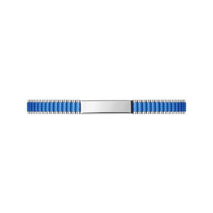Sterling Silver & Blue Cord Baby Friendship ID Bracelet, , hires