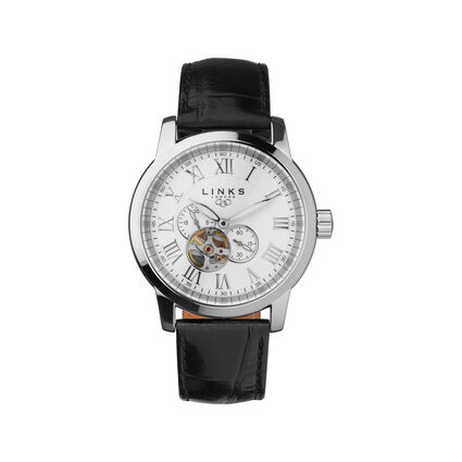 Noble Roman Stainless Steel & Black Leather Automatic Watch, , hires