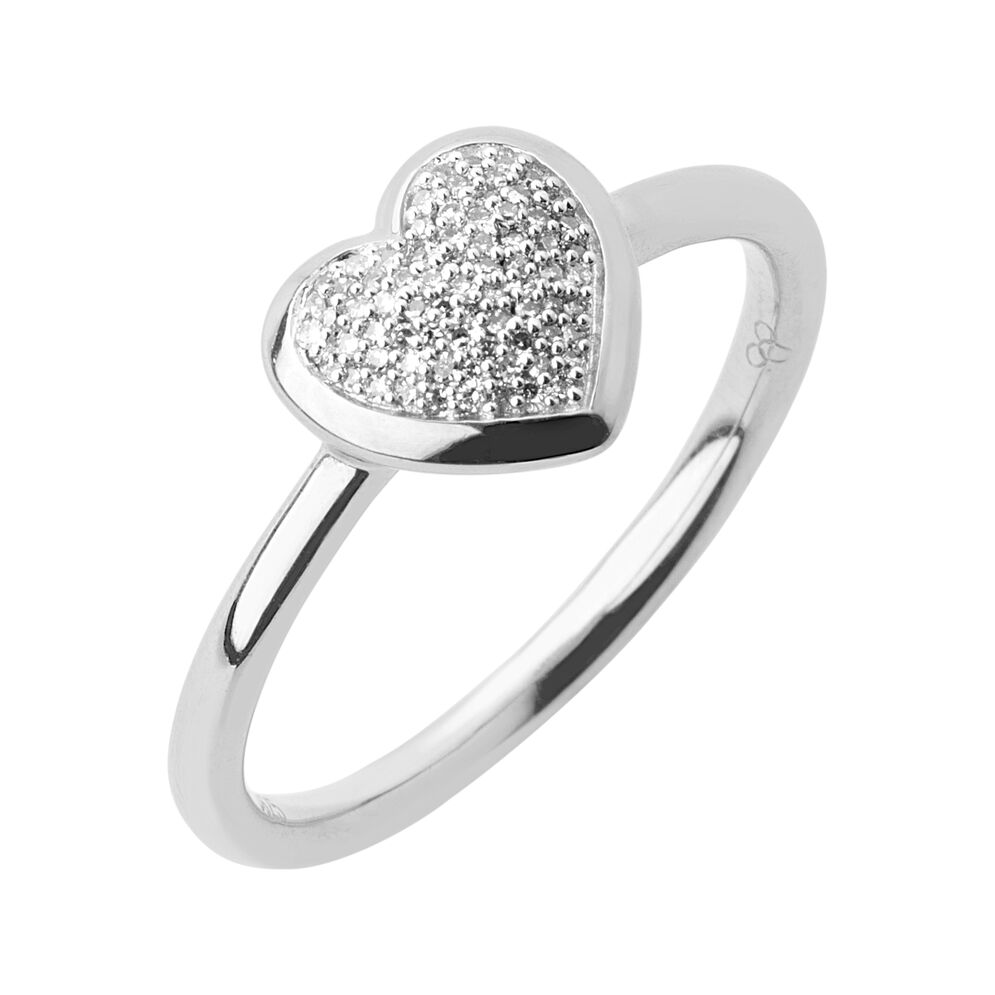 Diamond Essentials Sterling Silver & Pave Heart Ring, , hires