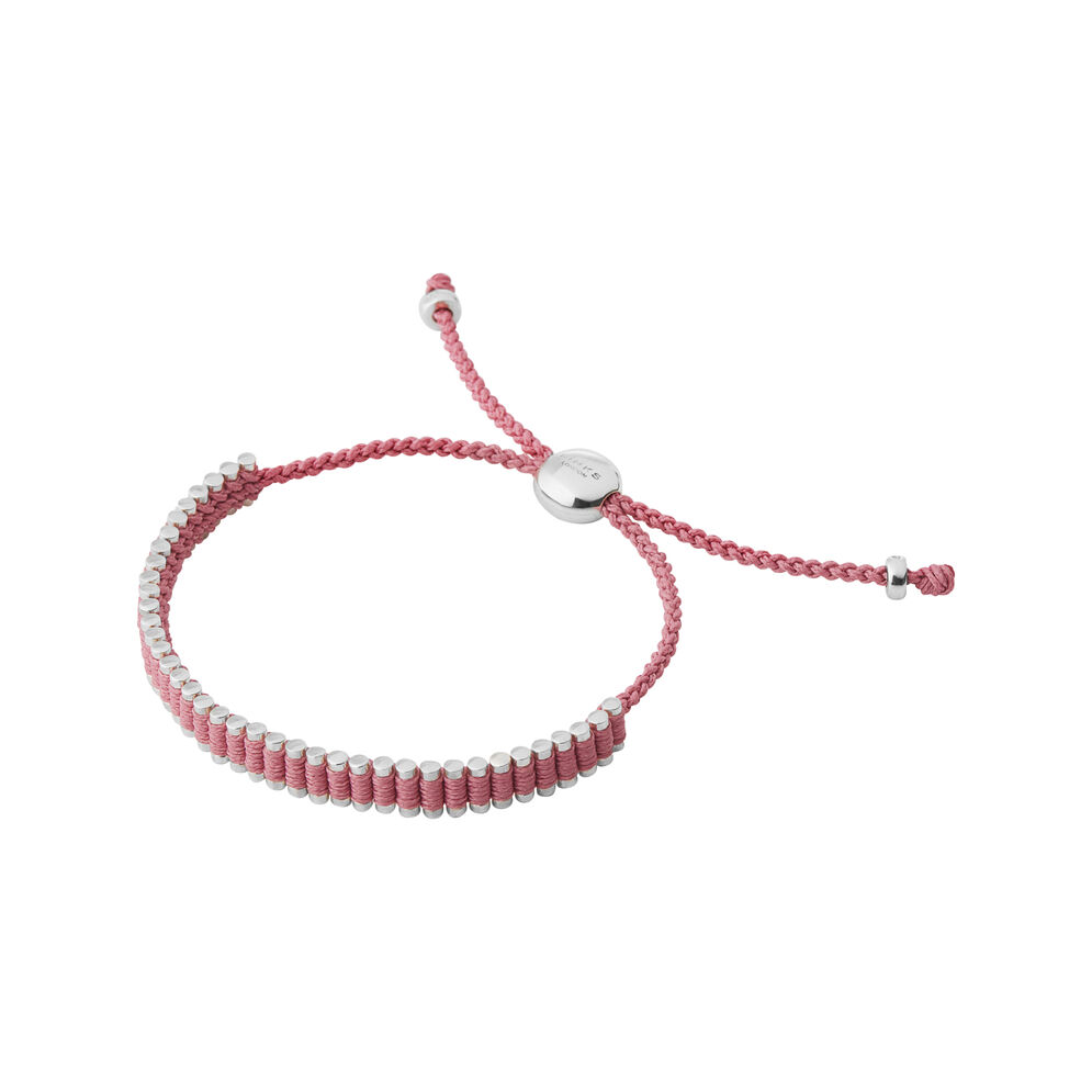 Sterling Silver & Dusky Pink Cord Mini Friendship Bracelet, , hires