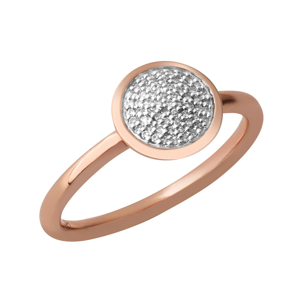 Diamond Essentials 18kt Rose Gold Vermeil & Pave Round Ring, , hires