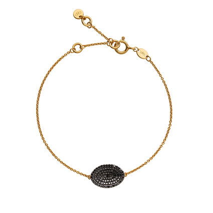 Concave 18kt Yellow Gold Vermeil & Black Diamond Bracelet, , hires