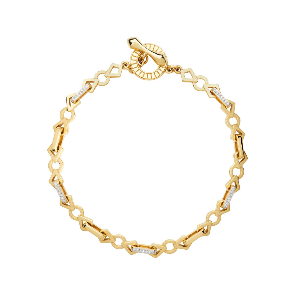 Timeless 18kt Gold & Diamond Chain Bracelet, , hires