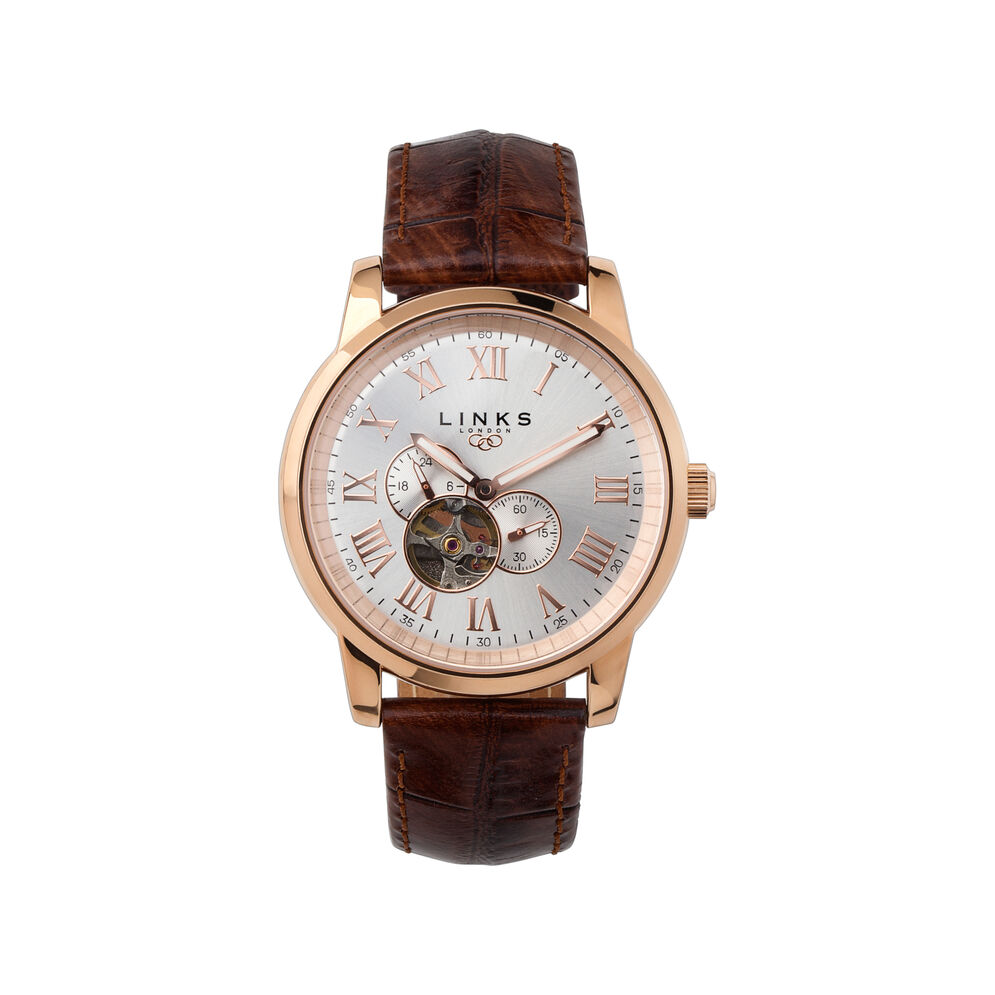 Noble Mens Rose Gold Plate & Brown Leather Automatic Watch, , hires