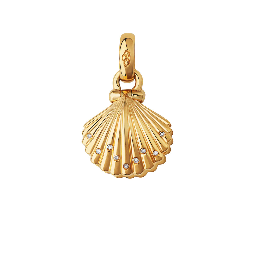 18kt Yellow Gold, Diamond & Pearl Clam Shell Charm, , hires
