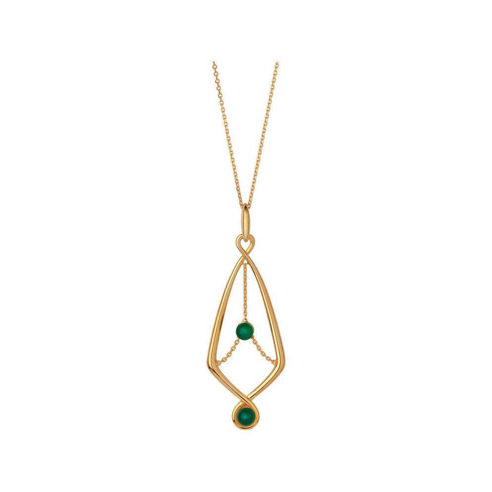 Serpentine 18kt Yellow Gold Vermeil & Green Chalcedony Gemstone Pendant Necklace, , hires