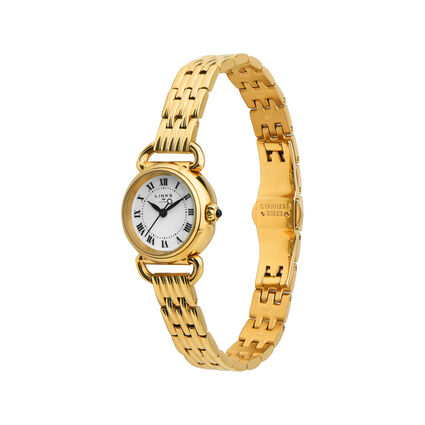 Driver Mini Round Gold Plate Bracelet Watch, , hires