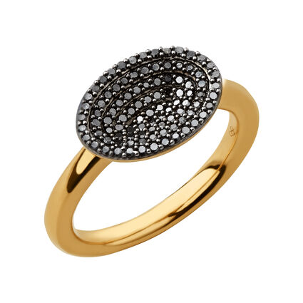 Concave 18K Yellow Gold Vermeil & Black Diamond Ring, , hires