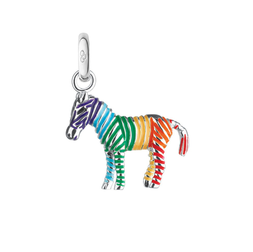 Sterling Silver Rainbow Zebra Charm, , hires