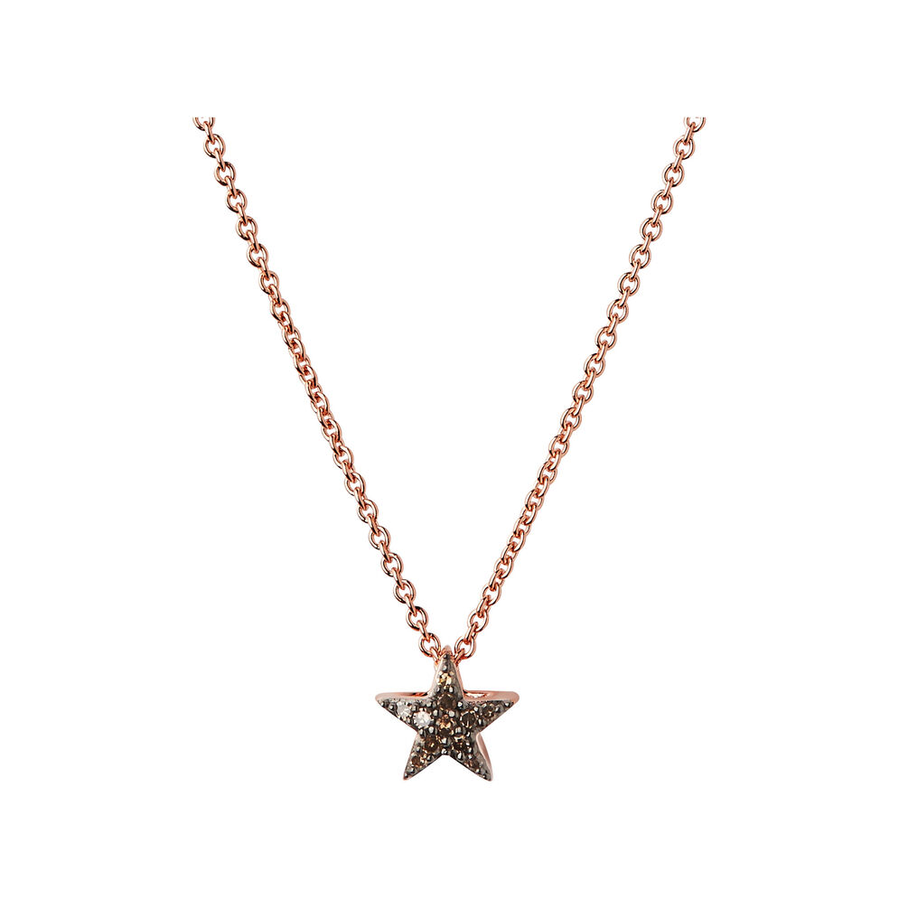 Diamond Essentials 18kt Rose Gold Vermeil & Champagne Pave Star Necklace, , hires