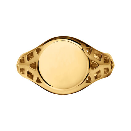 Timeless 18kt Yellow Gold Vermeil Signet Ring, , hires