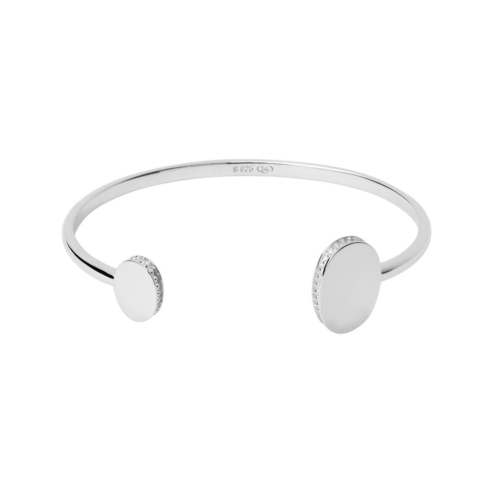 Narrative Sterling Silver Open Double Cuff Bangle, , hires